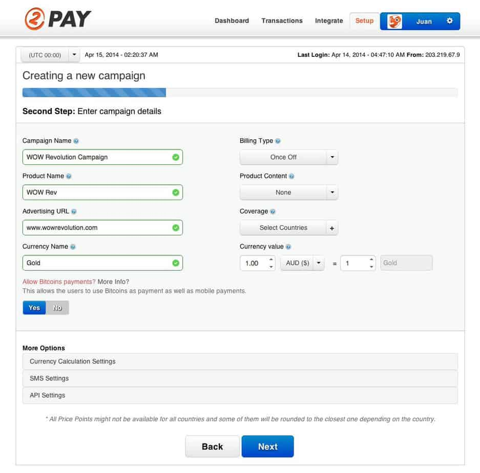 2Pay Setup Screen