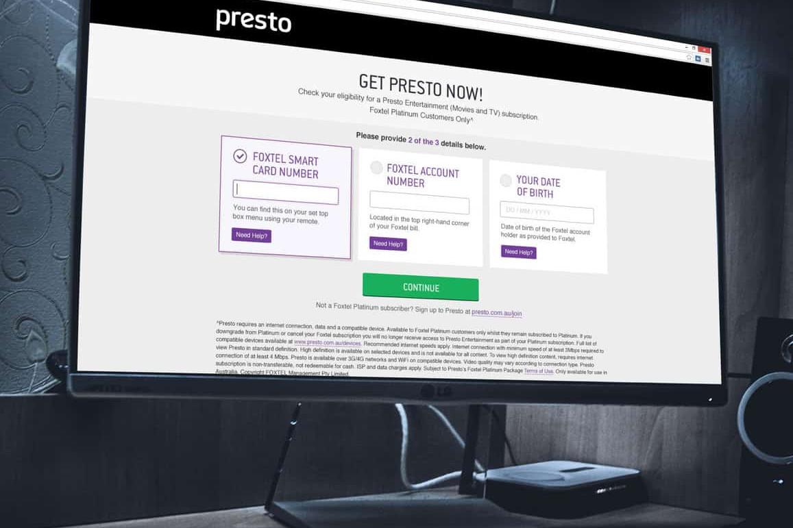 Presto Platinum Signup