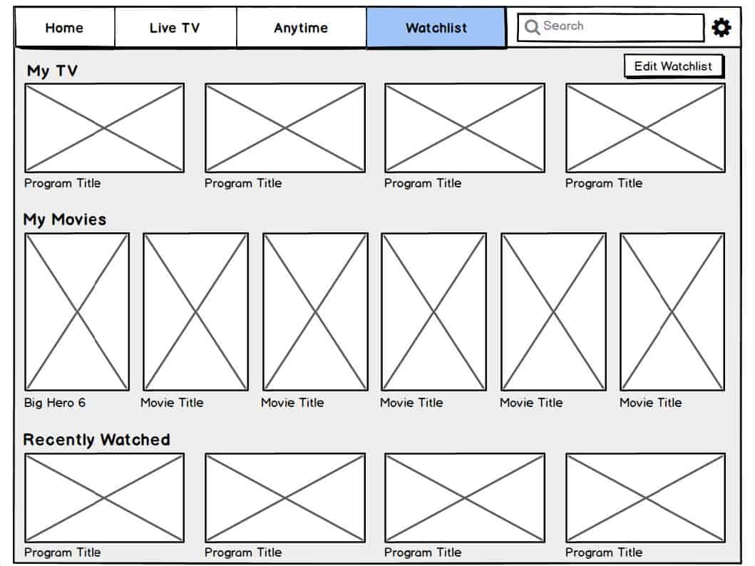 Foxtel Go Home Watchlist Wireframe