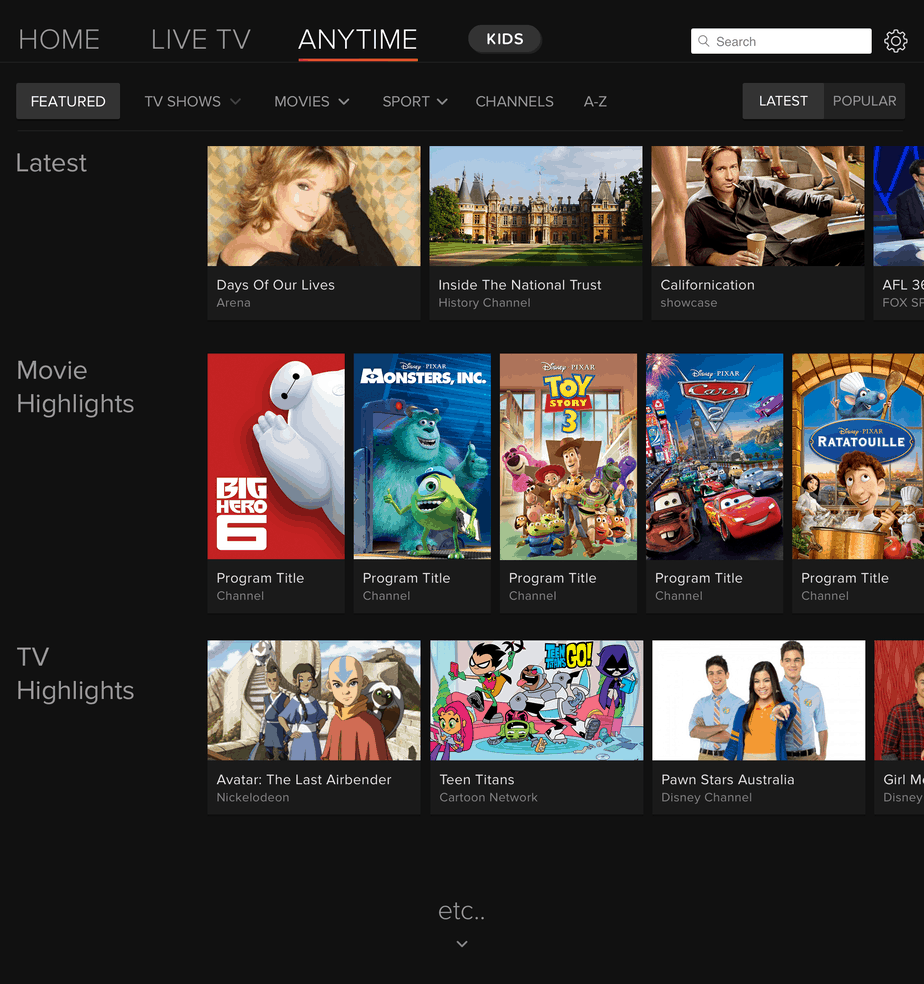 Foxtel Go Anytime Home Screen