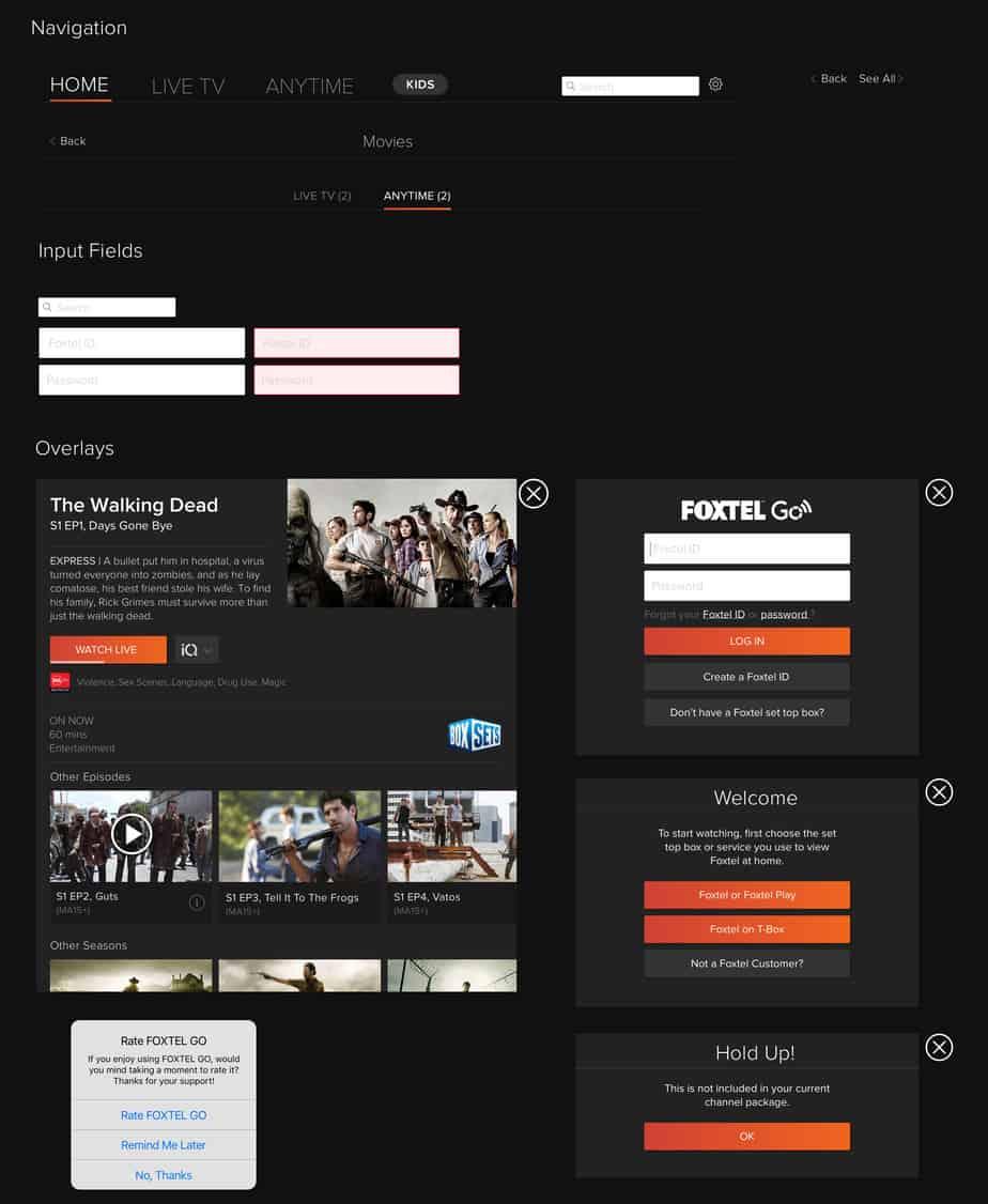Foxtel Go UI Kit
