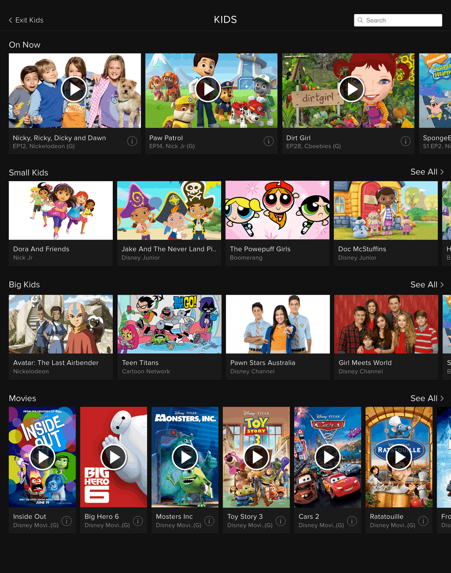 Foxtel Go Kids Home Screen