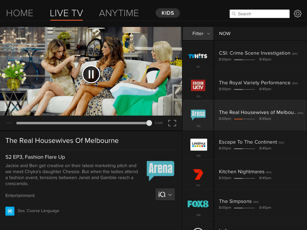 Foxtel Go Live TV Screen