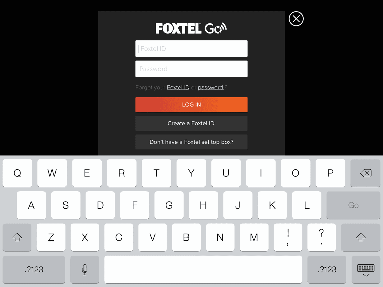 Foxtel Go Login Screen