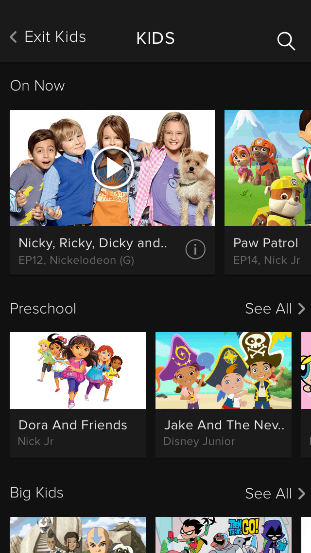 Foxtel Go Kids Screen App